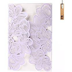 Fancy Purple Hollow Flower Laser Cut Wedding Invitations Cards Kit for Marriage Engagement , Birthday , Bridal Shower (24pcs lilac)