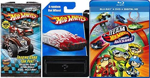 Team Hot Wheels Blu Ray + DVD + Digital HD Car & Fun Pack Card Awesome Set *1 Random Car + 1 Pack + HW Stickers* HW Mystery Car New with Trading Cards fun tattoo sticker foil (Wheels Cars Stickers Hot)