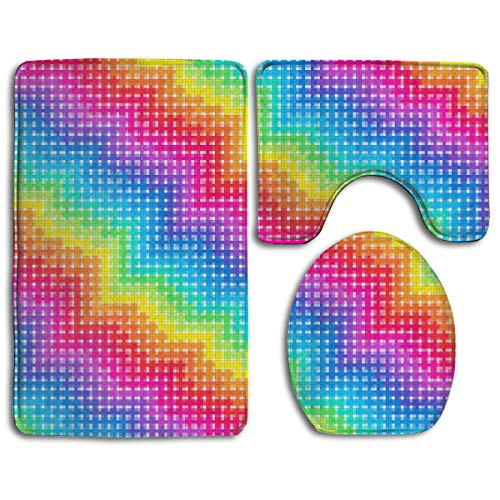 Color Rainbow Bathroom Rug Sets 3 Piece Non-Slip Floor Mat Contour Rug Toilet Lip Cover for $<!--$33.50-->