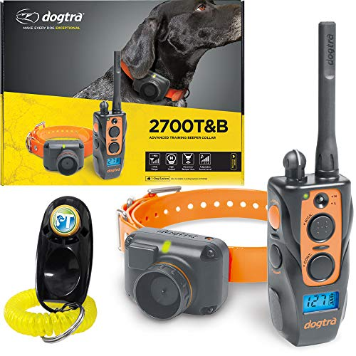 Dogtra 2700T&B Remote Training and Beeper Collar - 1 Mile Range, Fully Waterproof, Rechargeable, Shock, Vibration - Includes PetsTEK Dog Training Clicker ()