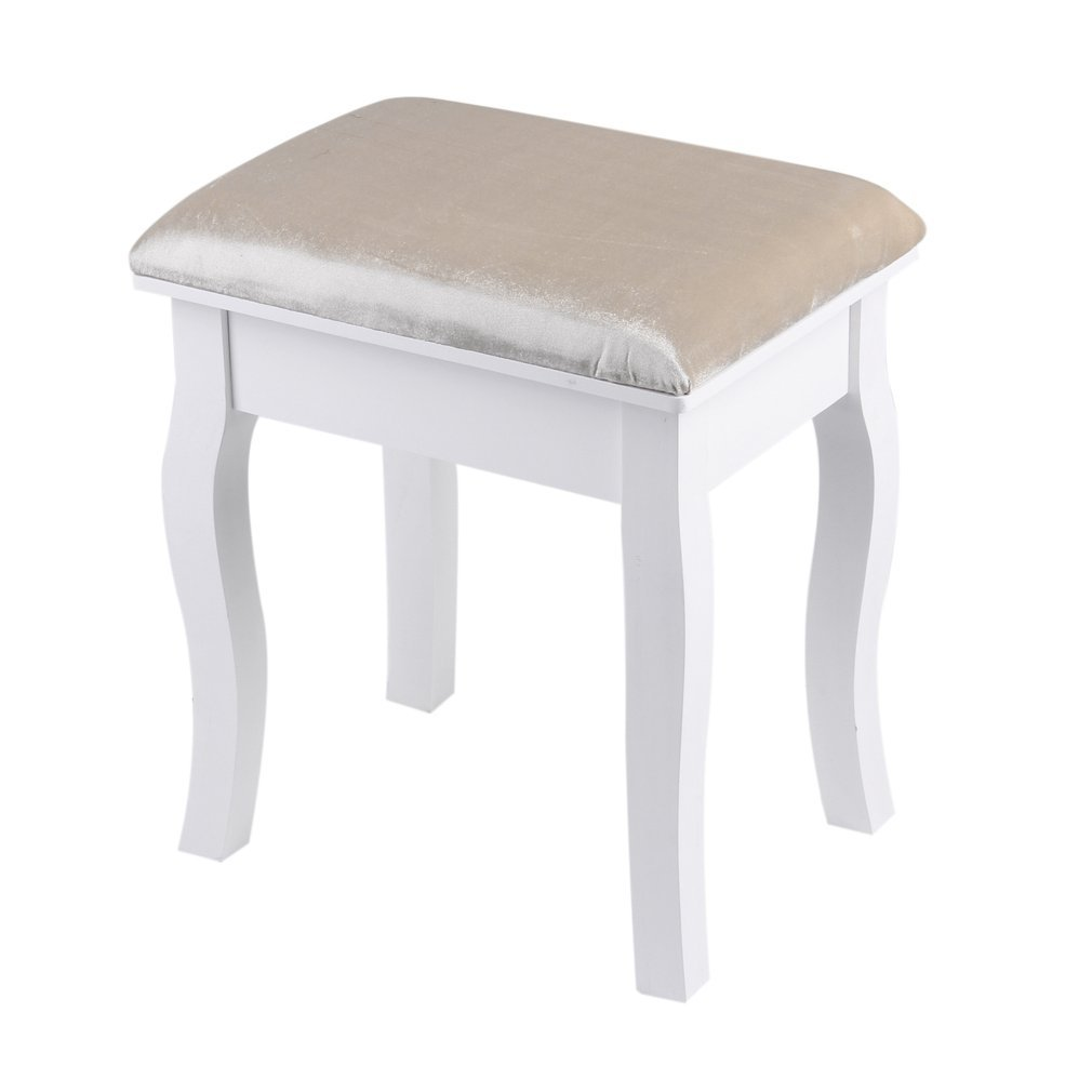 KATHER Piano Stool Cushioned Wooden Keyboard Bench Dressing Table Stool Makeup Seat Baroque Piano Chair White