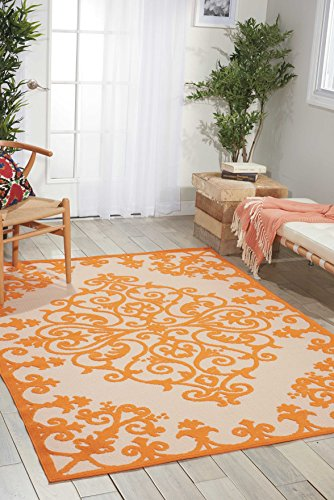 Nourison Aloha (ALH12) Orange Rectangle Area Rug, 5-Feet 3-Inches by 7-Feet 5-Inches (5'3