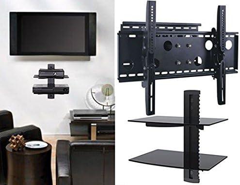 2 x casa – nuevo soporte de pared para televisor (brazo único) y dos (2) doble estante paquete – seguro – soporte LED LCD Plasma 3d Smart Wifi soporte de mesa Monitor