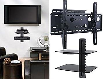 2 x casa – nuevo soporte de pared para televisor (brazo único) y dos (2) doble estante