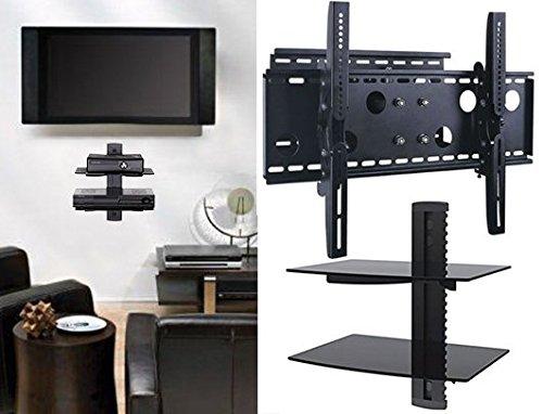 2xhome – NEW TV Wall Mount Bracket  & Two  Double Shelf Pa