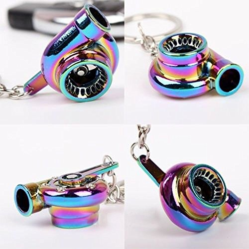 HJJ® HAMIST Spinning Turbo Keychain Keyring Turbocharger Turbine Key Chain Drift Racing Neo Rainbow (Keychain Turbocharger compare prices)