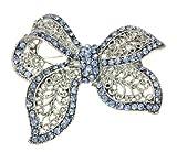 Sapphire Crystal Ribbon Tie Brooch Pin [Apparel]