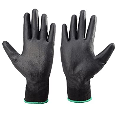 24 Pairs Protective Safety Work Gloves PU Palm Coated Garden Builders Grip