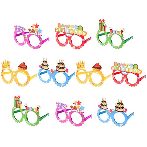 Toyvian Party Eyeglasses Happy Birthday Glasses 10 Pack Kids Novelty Eyeglasses Frames Birthday Party Supplies Photo Booth Prop Holiday Party Favor -