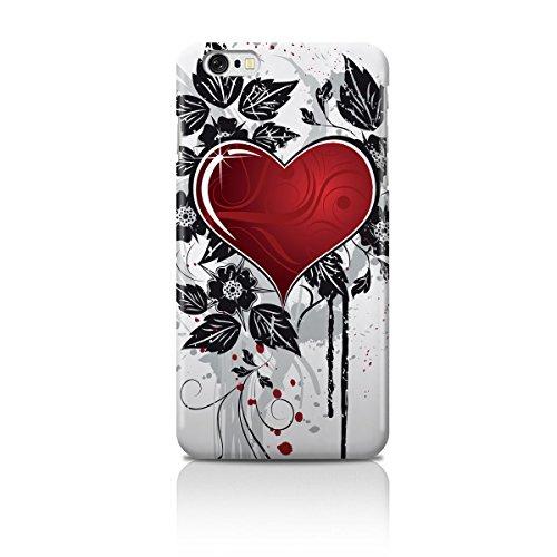 Cell Shell ® iPhone 6 (4.7) Case / Cover / Custodia / Skin Rigida in Plastica / Snap On - Disegno bianca con Rosso Cuores