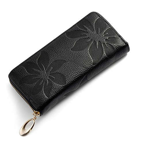 Wallet for Women,Genuine Leather Womens Wallet 8 Credit Cards Phone Holder,Kyerivs Soft Fashion Purse Ladies (Black Ladies Purse Accessories)