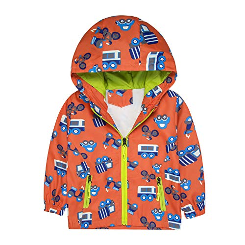 - Boys Jacket Car Printed Hooded Windproof Outdoor Rain Coat for Toddlers (Orange,5T)
