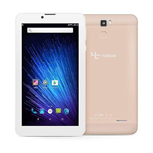 Yuntab 7 inch Android 6.0 3G Tablet pc Alloy Metal back Unlocked Smartphone Quad Core IPS 1024x600 Screen 1GB+8GB MID Phablet Pad 2800Mha with WIFI, GPS and Bluetooth Dual Camera (Gold) (Cpu Core Unlocked Six)