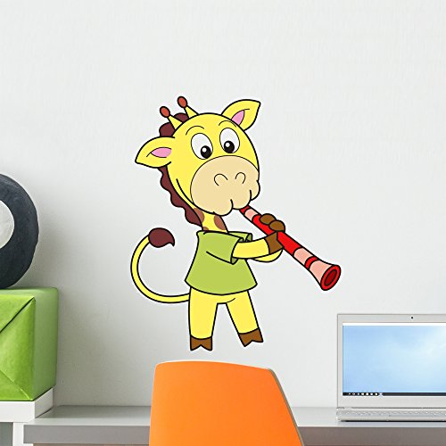 Wallmonkeys Cartoon Giraffe Playing Clarinet Wall Decal Peel and Stick Graphic (18 in H x 18 in W) WM287517 -