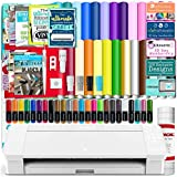 Silhouette White Cameo 4 Starter Bundle with 26 Oracal Vinyl Sheets, Transfer Paper, Class, Guides and 24 Sketch Pens