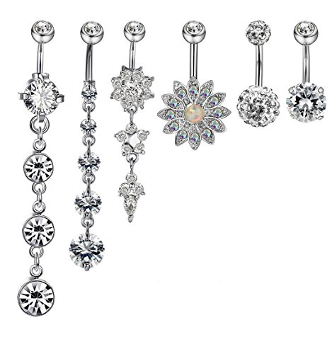 Jstyle 4 Pcs Stainless Steel Dangle Belly Button Rings Navel for Women Curved Barbell Piercing 14G CZ Piercing Set (D: 6 Pcs Silver-tone)