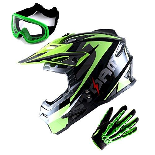 1Storm Adult Motocross Helmet BMX MX ATV Dirt Bike Helmet Racing Style Glossy Yellow; + Goggles + Skeleton Yellow Glove Bundle ()