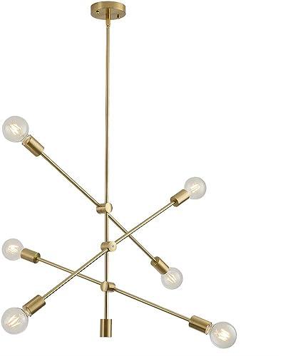 Sputnik Chandelier Lighting Fixture 6 Light Brushed Brass Finish Mid