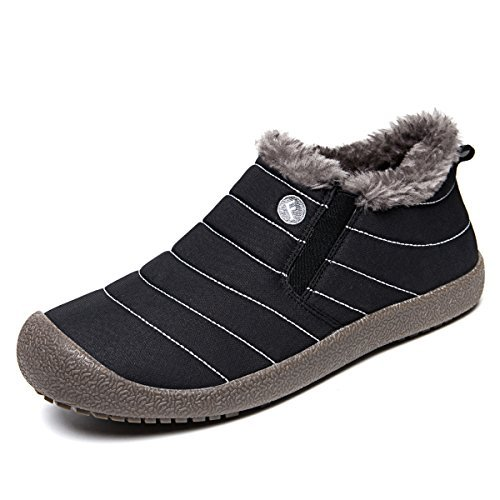 EXEBLUE Enly Winter Snow Boots Slip-on Water Resistant Booties for Men Women, Anti-Slip Lightweight Ankle Boots with Full Fur -