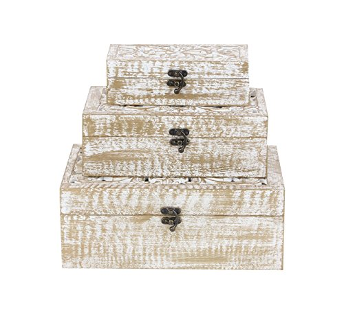 Deco 79 96093 Carved Wooden Filigree Boxes (Set of 3), White/Brass-Finish (Wood Mango Box Carved)