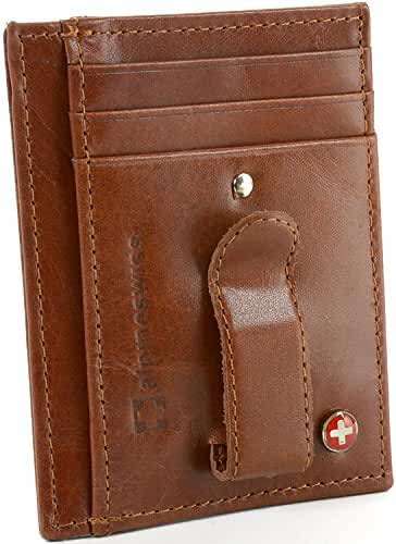 AlpineSwiss RFID Blocking Mens Money Clip Leather Minimalist Front Pocket Wallet