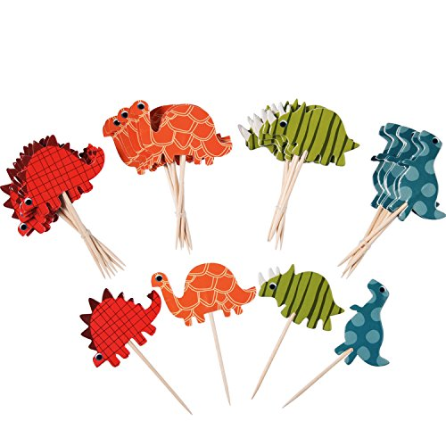 eBoot 72 Pieces Cake Toppers Cupcake Picks Dinosaur Cupcake Toppers Dinosaur Food Toppers Fruit Toppers for Decoration (Dinosaur Party Food)