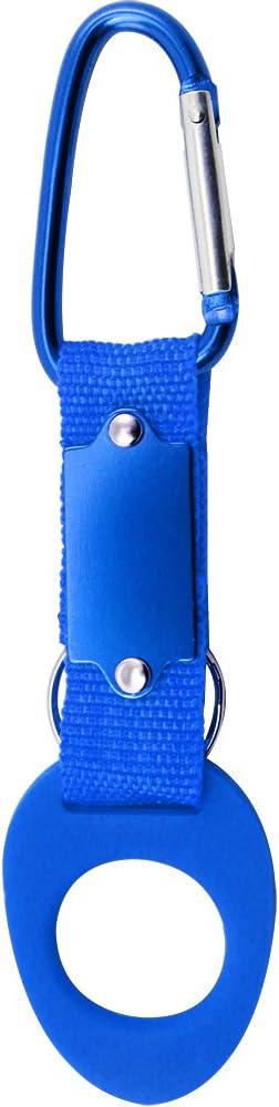com-four/® 5X Flaschenhalter aus Silikon in blau mit Karabiner und Schl/üsselring 05 St/ück - blau