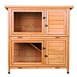 CO-Z 2 Story Outdoor Wooden Bunny Cage Rabbit Hutch Guinea Pig House in Nature Color with Ladder for Small Animals