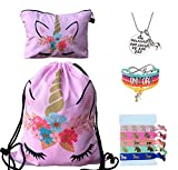 Unicorn Gifts for Girls - Unicorn Drawstring Backpack/Makeup Bag/Bracelet/Inspirational Necklace/Hair Ties (Pink Flower)
