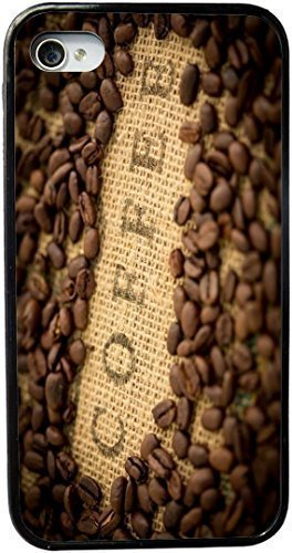 Coffee Beans with Coffee inscripted on Bean Sack Design Personality Silicon PC Luxury Cover Case Cover For Apple Iphone 6 Plus 5.5 Inch (Black) By ALL MY (Bean Silicon Case)