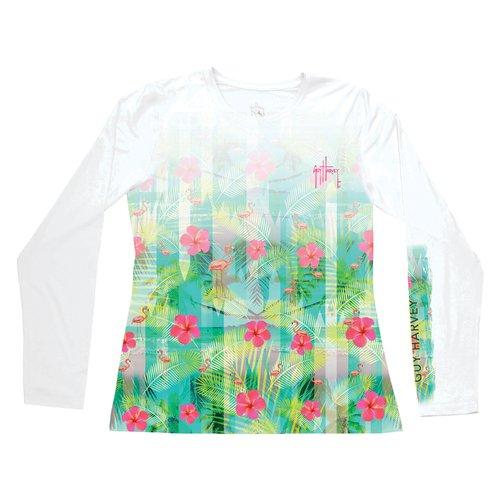 Guy Harvey Womens Flamingo Breeze Long Sleeve Performance Shirt Small White FBA