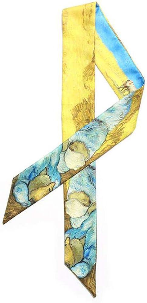 IVERIRMIN Sciarpa della maniglia della borsa dei capelli legata del nastro della stella sottile di Wheatfield Star della sciarpa dellolio di Van Gogh