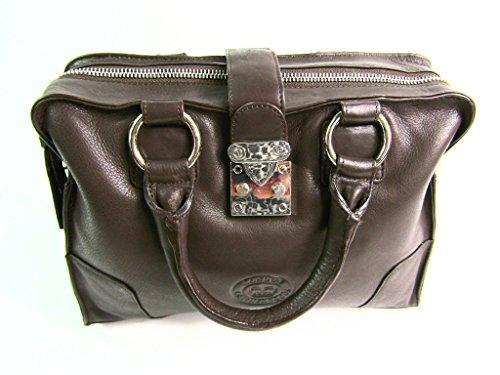 Marrón Bolsa Leather Mujer London Oscuro wUtzHq
