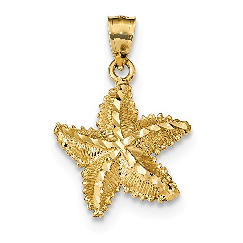 Diamond Cut Starfish Pendant (14k Polished and Textured Diamond-cut Starfish Pendant)
