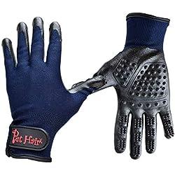 Pet Ninja Gloves for Hair Removal (2 Pack) - Right + Left Hand Pet Grooming Glove Set for Cat Dog Horse with Long&Short Fur | Gentle Brush Massage | Washing Deshedding Kit | Ninja Glove mitt Remover
