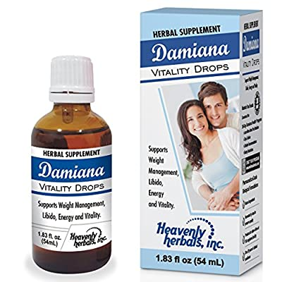 Damiana Vitality Drops – Natural Remedy, Premium Herbal Supplement Drops – 1.83Fl. Oz by Heavenly Herbals, Inc.