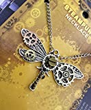 Steampunk Dragonfly Pendant Sweater Necklace with