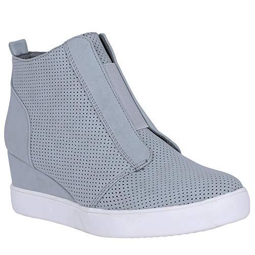 (Womens Wedge Sneakers Penny Mid Heel Pump High Top Laser Cut Side Zip Booties)