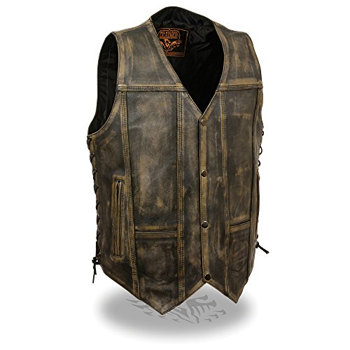 Mens Distressed Leather 10 Pocket Vest, Brown Size 2XL from Milwaukee Leather