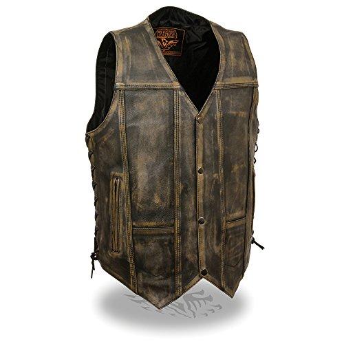 Mens Distressed Leather 10 Pocket Vest, Brown Size M
