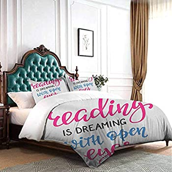 Image of Home and Kitchen dsdsgog Home Living Bedding Book,Quote for Happiness Being Related to a Book Printed in Cartoon Style on a Set of Books, Multicolor 90x104 inch Wrinkle Fade and Stain Resistant