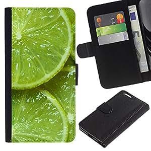 A-type (Green Citrus Fruit Nature Vibrant) Colorida Impresión Funda Cuero Monedero Caja Bolsa Cubierta Caja Piel Card Slots Para Apple (5.5 inches!!!) iPhone 6+ Plus / 6S+ Plus