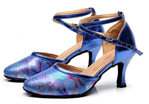 Tda Donna Cinturino Tacco Alto Punta Chiusa Serpente Sintetico Salsa Tango Samba Moderno Scarpe Da Ballo Latino 7,5 Centimetri Blu