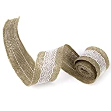 2m Burlap White Lace Craft Ribbon for Craft Wedding Home Decor