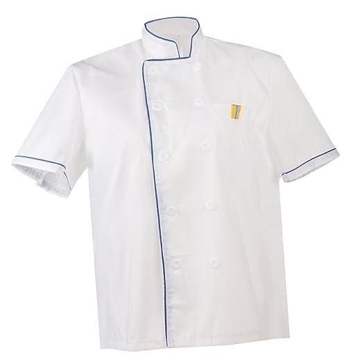 MonkeyJack Men New Fashion Women Chef Uniform Single Breasted Cook Short Sleeve Coat - Blue,
