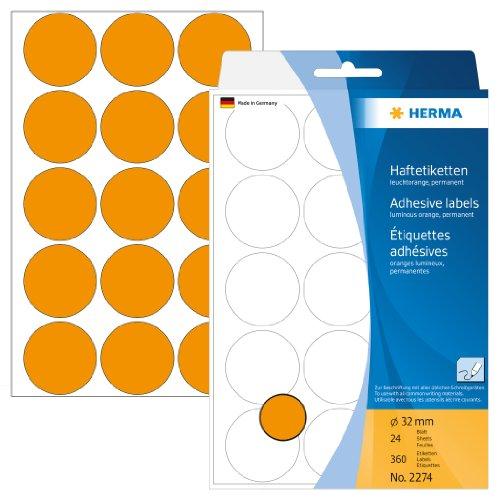 Herma 2274 Vielzwecketiketten (Ø 32 mm, rund Papier matt) 360 Stück leuchtorange
