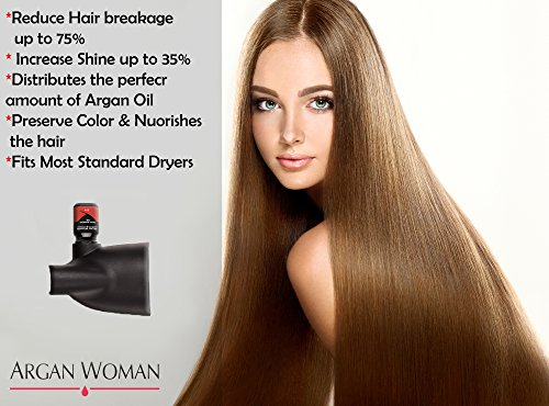 Hair Dryer Nozzle Box, 3 pro salon Styling Nozzles for hair dryer 1 concentrator nozzle and argan oil botle 1 wide nozzle & high pressure nozzle Best straightening for damaged, dry hair & hair loss by Argan Woman (Image #1)