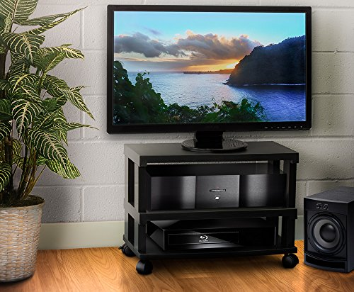- Aleratec 3-Tier LCD | LED TV Stand Entertainment Rack with Wheels