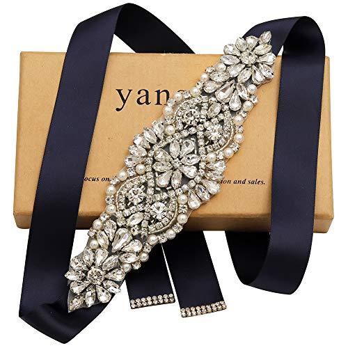 Yanstar Silver Crystal Beads Rhinestone Wedding Bridal Belt Sash With Navy Ribbon For Wedding Dress