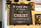 i can do all things art - I Can Do All Things Through Christ Who Strengthens Me Philippians 4:13 | InspiraGifts | Religious Inspirational Home Decor | Natural Stone Plaques | Christian Gifts (Dark Background, 11.5X11.5)